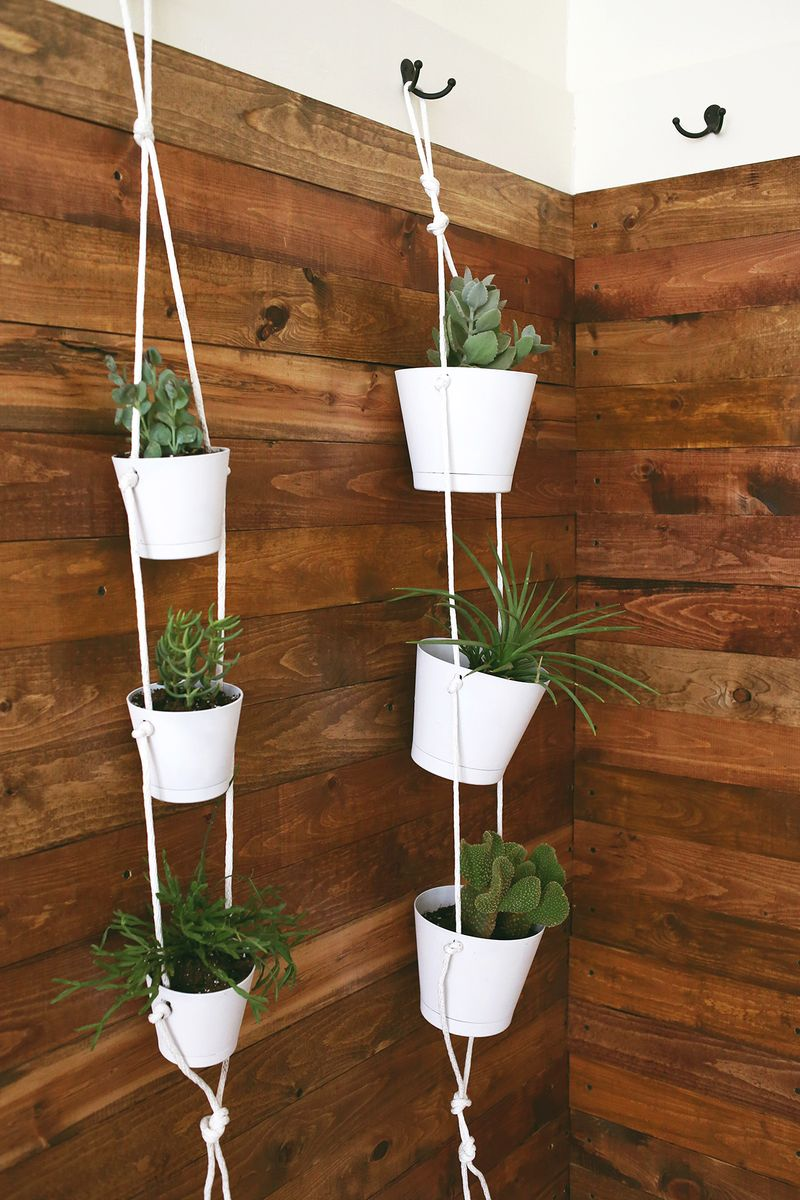 Indoor rope planters from A Beautiful Mess