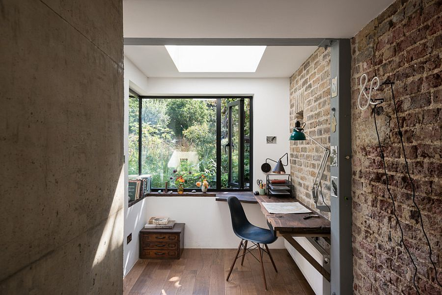 Industrial home office with exposed brick wall [Design: MW Architects]