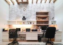 Ingenious home office design combines modern and traditional styles with ease 217x155 Trendy Textural Beauty: 25 Home Offices with Brick Walls