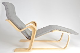 Isokon Long Chair with seat pad in Bute Fabric