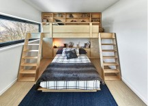 Kids bedroom of the ski chalet with bunk beds