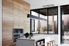 Kitchen island with open shelves gives you multiple decorating options