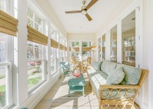 Large porch with windows turned into an elegant sunroom
