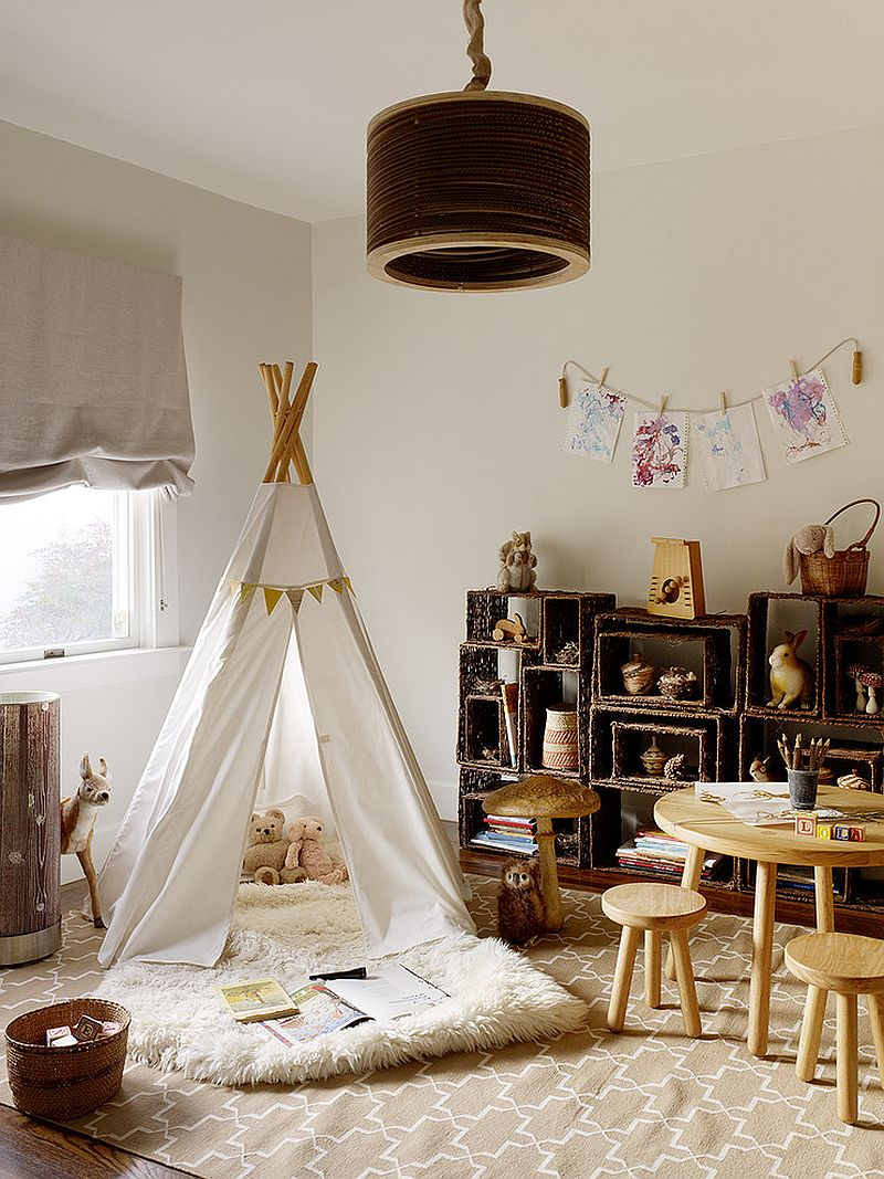 Lovely, open shelves next to the teepee add to the modern rustic style of the room [Design: Jute Interior Design]