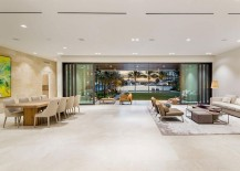 Lower level living area of the lavish Miami home