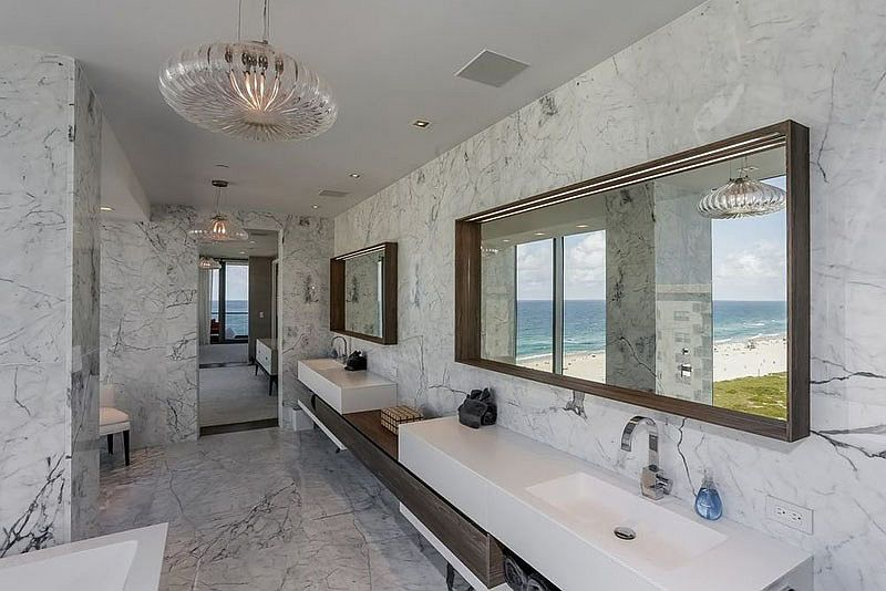Luxurious contemporary bathroom with twin vanities