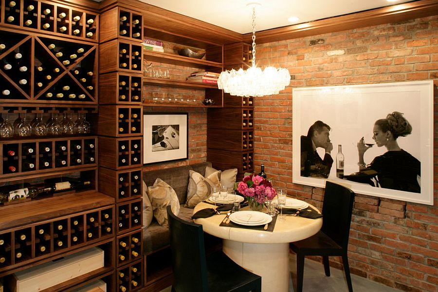 ... Make Use Of The Corner Space In The Wine Cellar [Design: Diane Burgio  Design