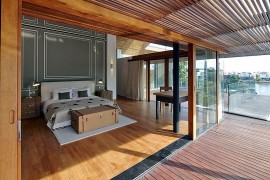 Master bedroom and bathroom with canal views