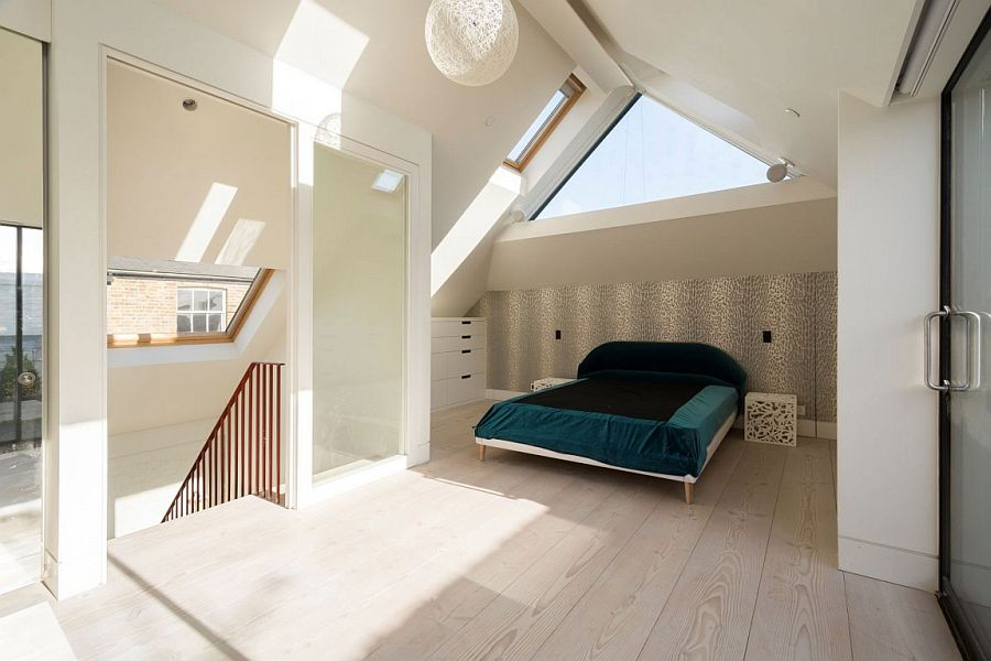 Master bedroom on the top level of the Clarendon Cross House