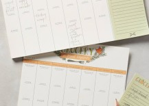 Meal planning calendar from Anthropologie