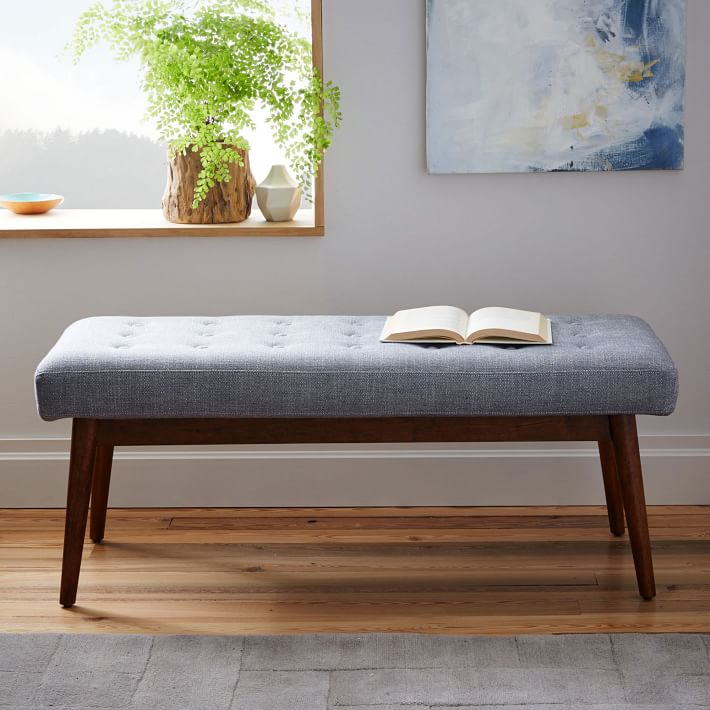 Midcentury-style bench from West Elm
