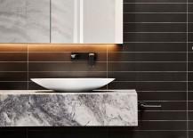 Minimal floating quartzite vanity for the refined modern bathroom
