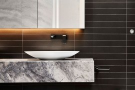 Minimal floating quartzite vanity for the refined modern bathroom
