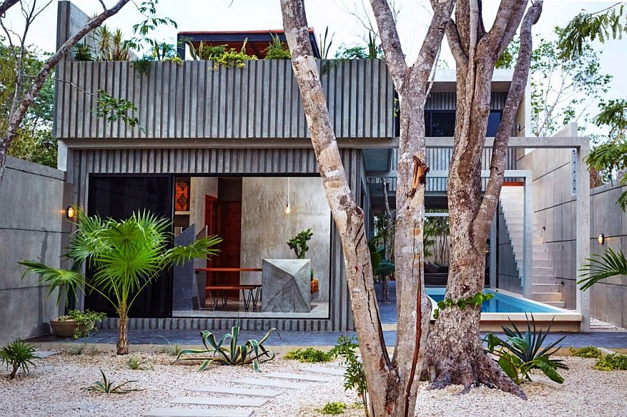 Modern Casa T in Tulum Mexico surrounded tropical greenery A Splash of Color and Polished Cement: Casa T in Mexico