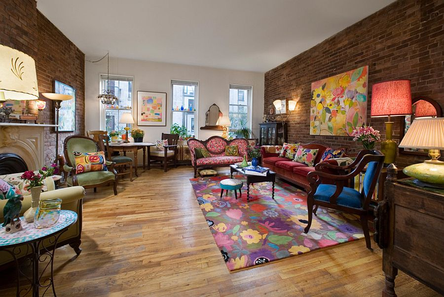 Modern victorian living room with a colorful eclectic for Victorian living room