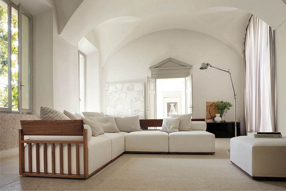Modular Italian-made sofa with a solid canaletta walnut frame