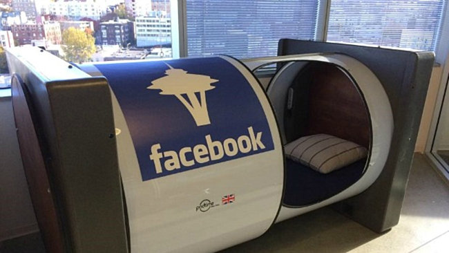 nap pod in the seattle offices of facebook decoist