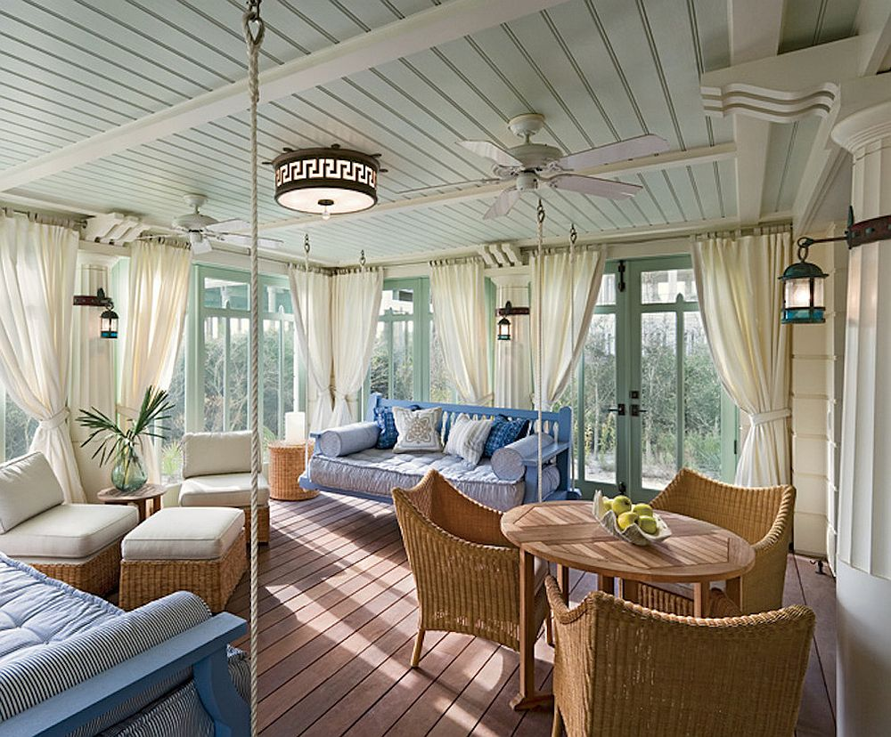 Natural materials always work well in the beach style sunroom [Design: JWB Architects]
