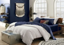 Navy organic sheets from CB2