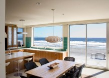 Ocean outside becomes a visual part of the beach style kitchen 217x155 Visual Treat: 20 Captivating Kitchens with an Ocean View