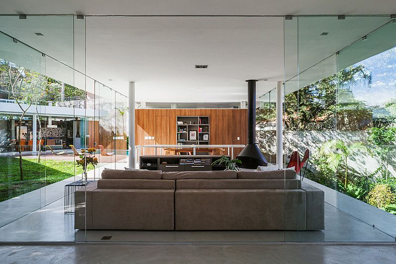 Open central living aea of the stylish Sao Paulo home