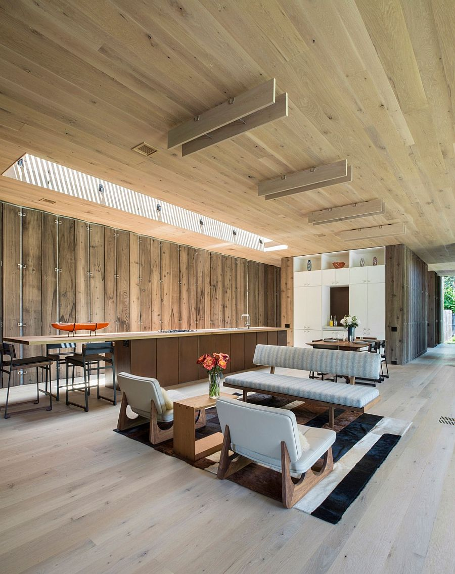 Open living area of the elegant private residence in Amagansett