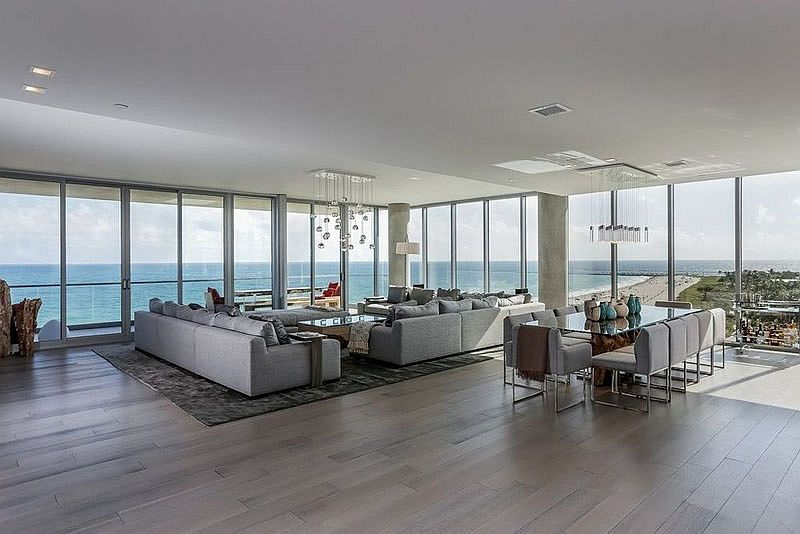 Open plan living area of the Miami Beach penthouse with amazing ocean views