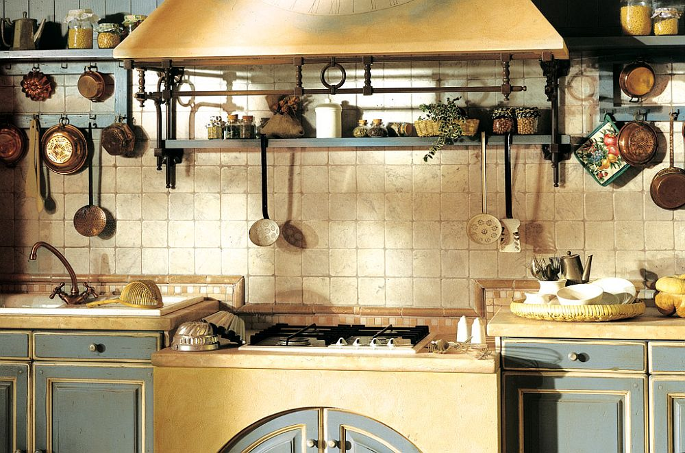 Open shelves and exposed iron detailing elevate the style quotient of the country style kitchen