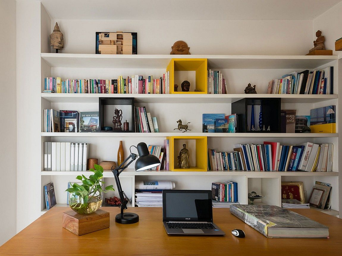 Organized home office and library design