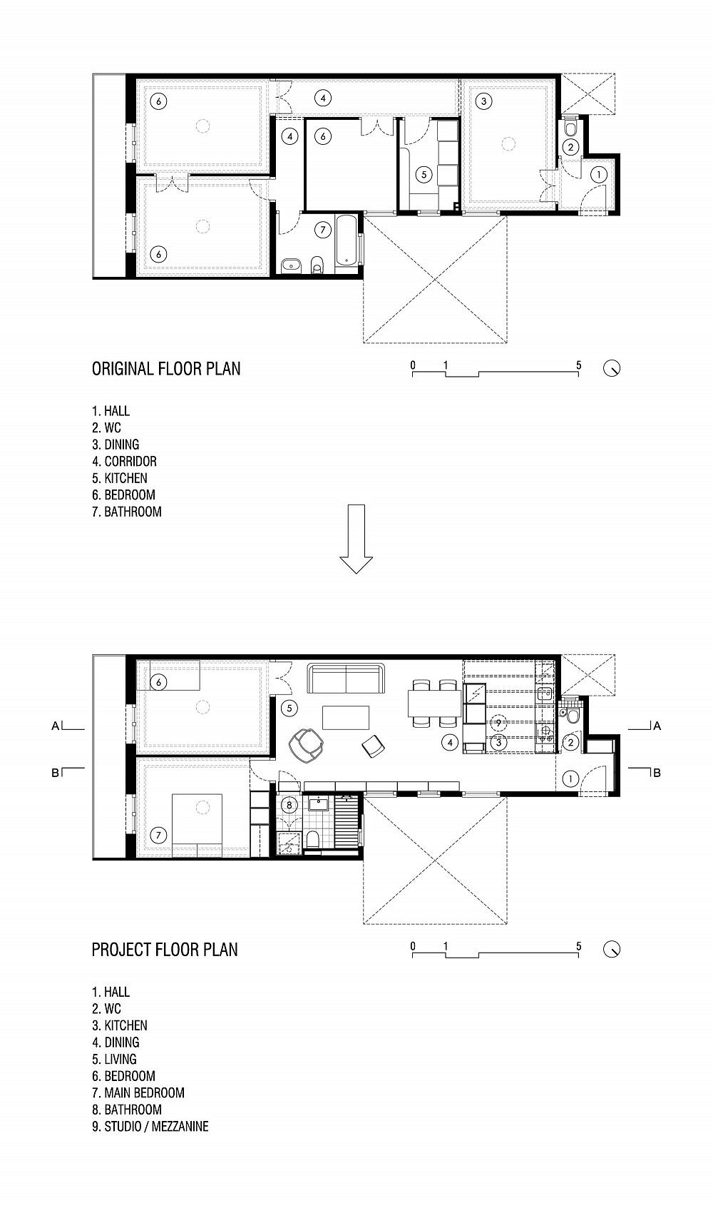 Original and revamped floor plan of modest apartment in Barcelona