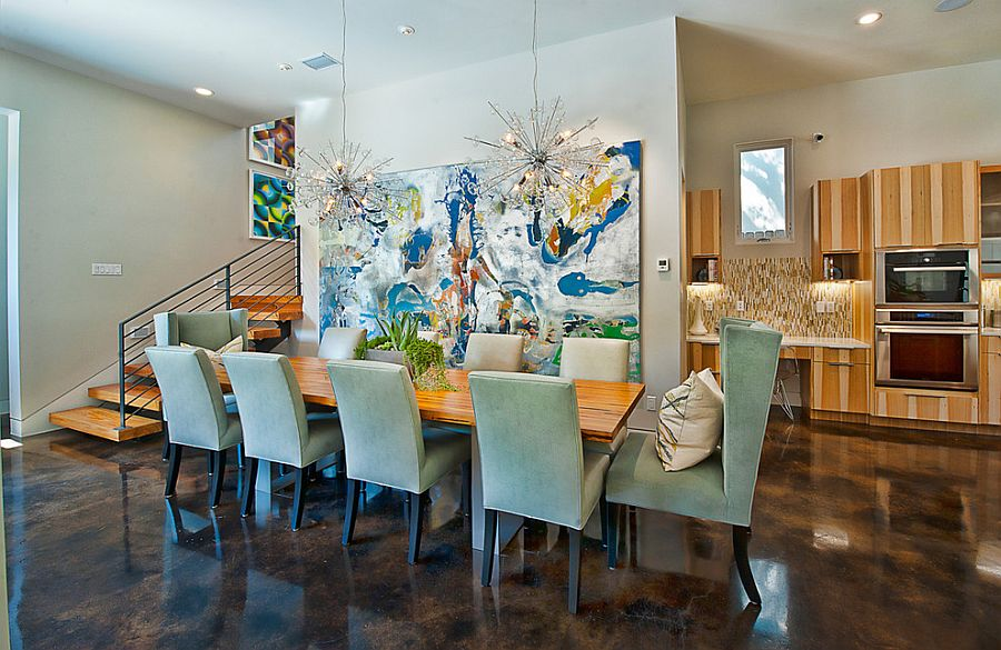 Oversized wall art is perfect for the modern dining room [From: Bryant Hill Media]