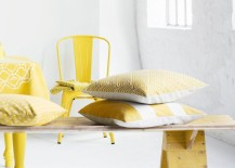Pairing yellow with crisp white and warm wooden tones