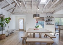 Picnic-style dining in a rustic-modern home
