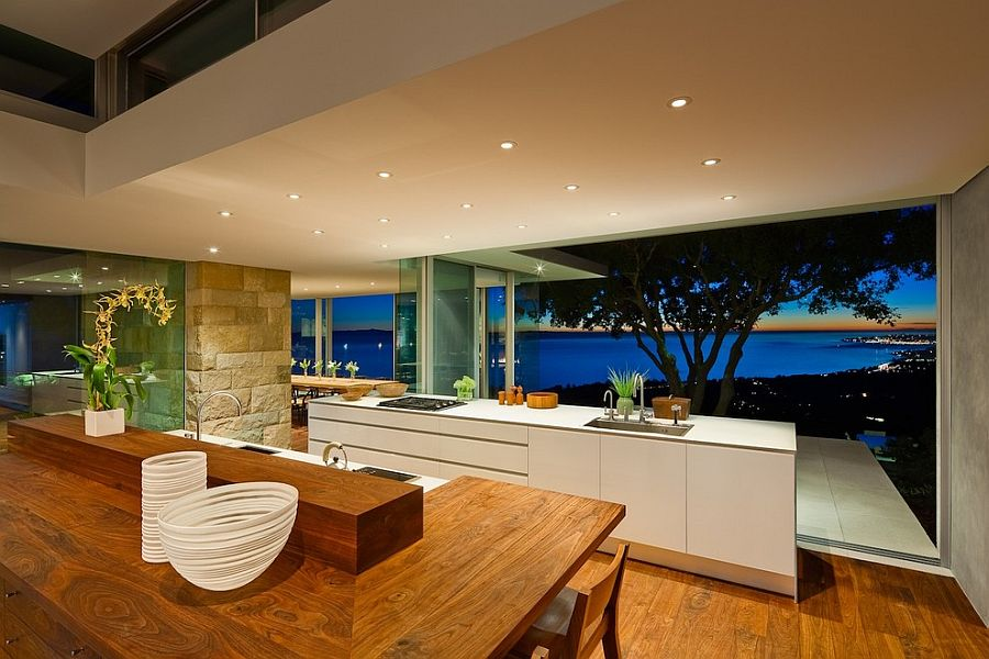Place the kitchen on a higher level for the best possible views [Design: Neumann Mendro Andrulaitis Architects]