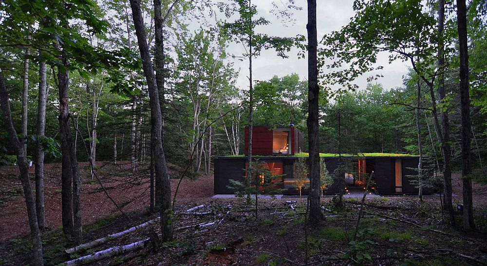 Pleated House surrounded by dense vegetation in a narrow peninsula on Lake Michigan