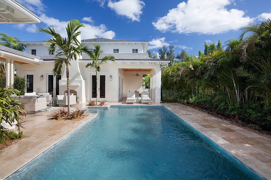 Pool deck combines tropical style with a hint of Mediterranean charm [Design: ibi designs]