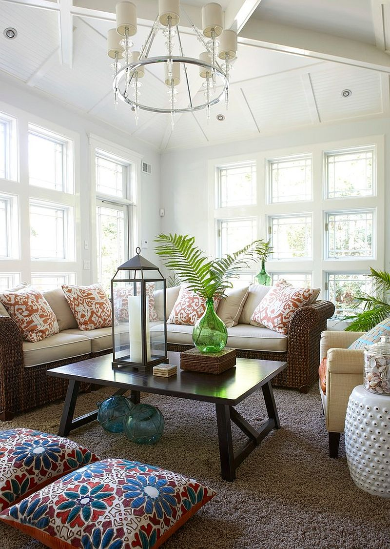 Rattan furniture is perfect for the relaxed sunroom [Design: Threshold Interiors]