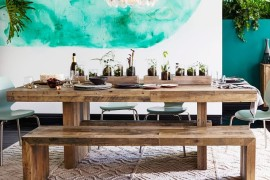 Reclaimed wood dining table from West Elm