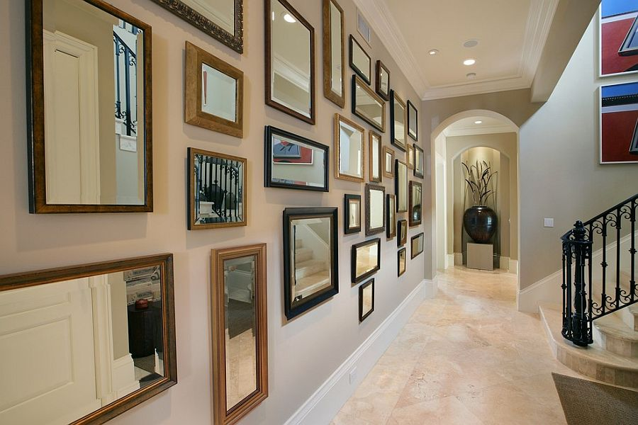 Rectangular mirror frames make a fabulous display [Design: Michael Abrams Limited]