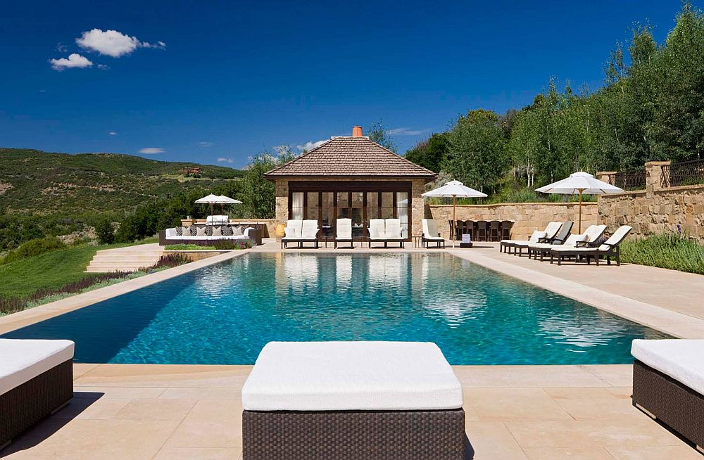 Refreshing and open pool deck opens up to the view outside