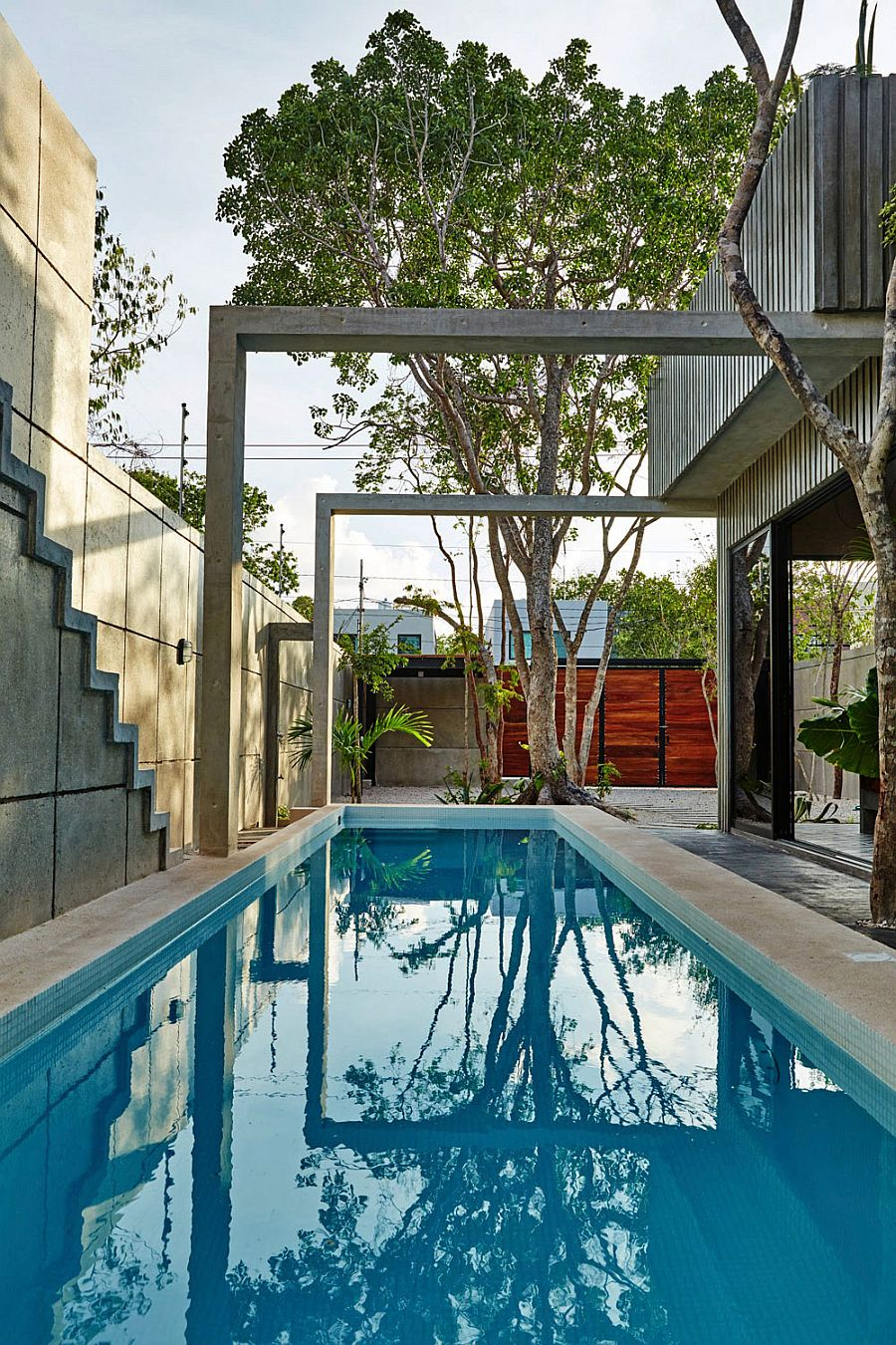 Relaxing small pool area of contemporary home in Mexico A Splash of Color and Polished Cement: Casa T in Mexico