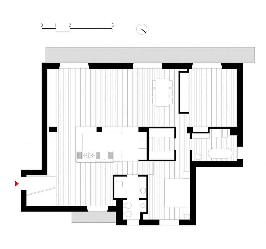Revamped floor plan of the 60s Italian apartment