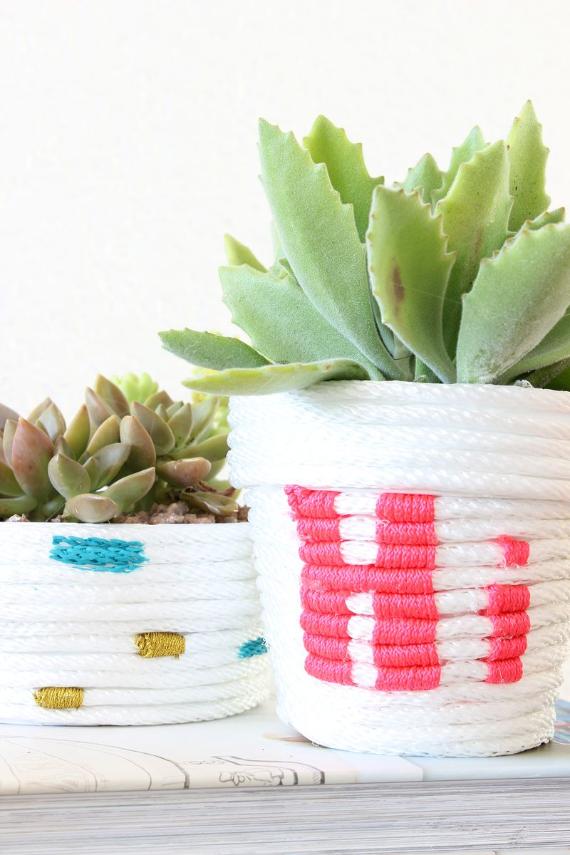 Rope-wrapped planters from A Beautiful Mess