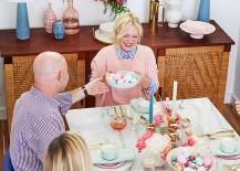 Roundish Mini Bowls on an Easter brunch table via Emily Henderson