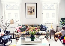 Scandinavian style living room with floral print couch