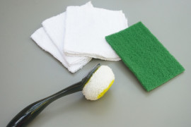 Scrubbing and cleaning supplies for the bathtub