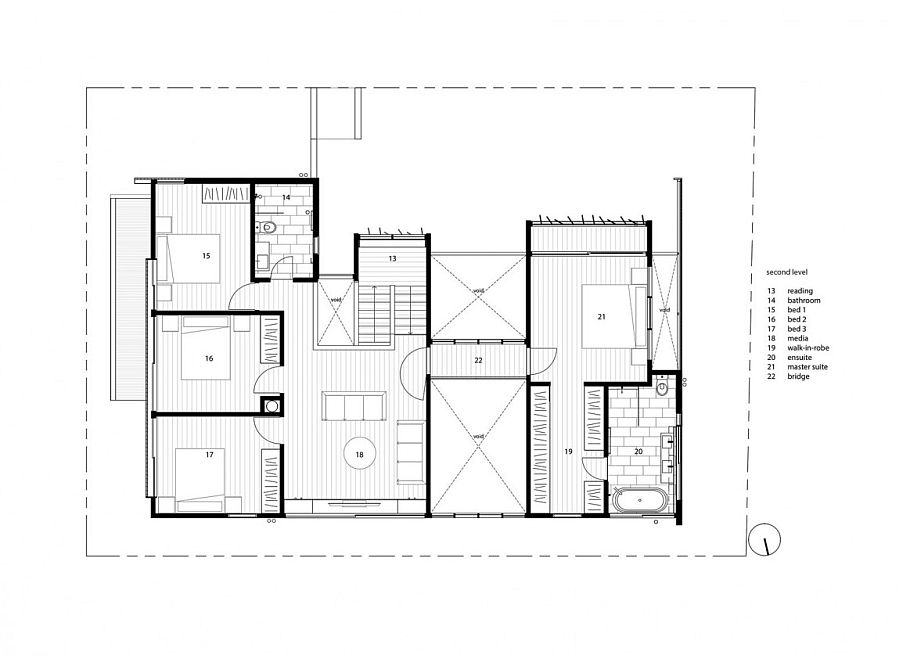 Second level floor plan of Backyard House in Teneriffe