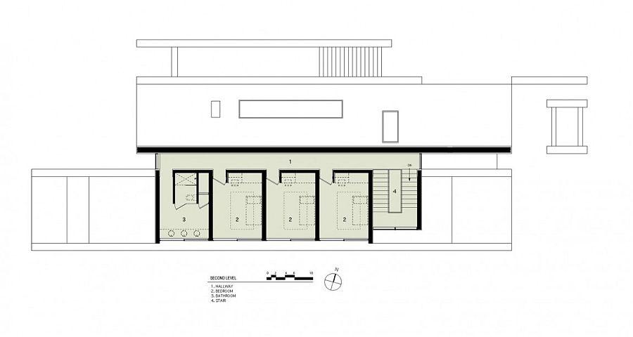 Second level floor plan of the Elizabeth II