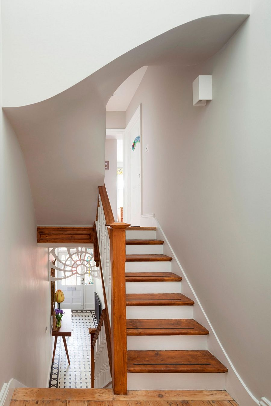 Simple, modern staircase design of the London home