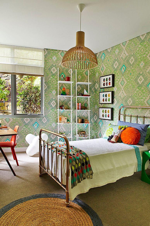 Sleek ladder shelves are a smart space-saver in the kids' bedroom [Design: Arent & Pyke]